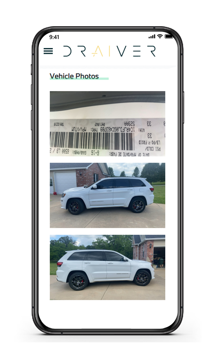 Vehicle delivery confirmation photos