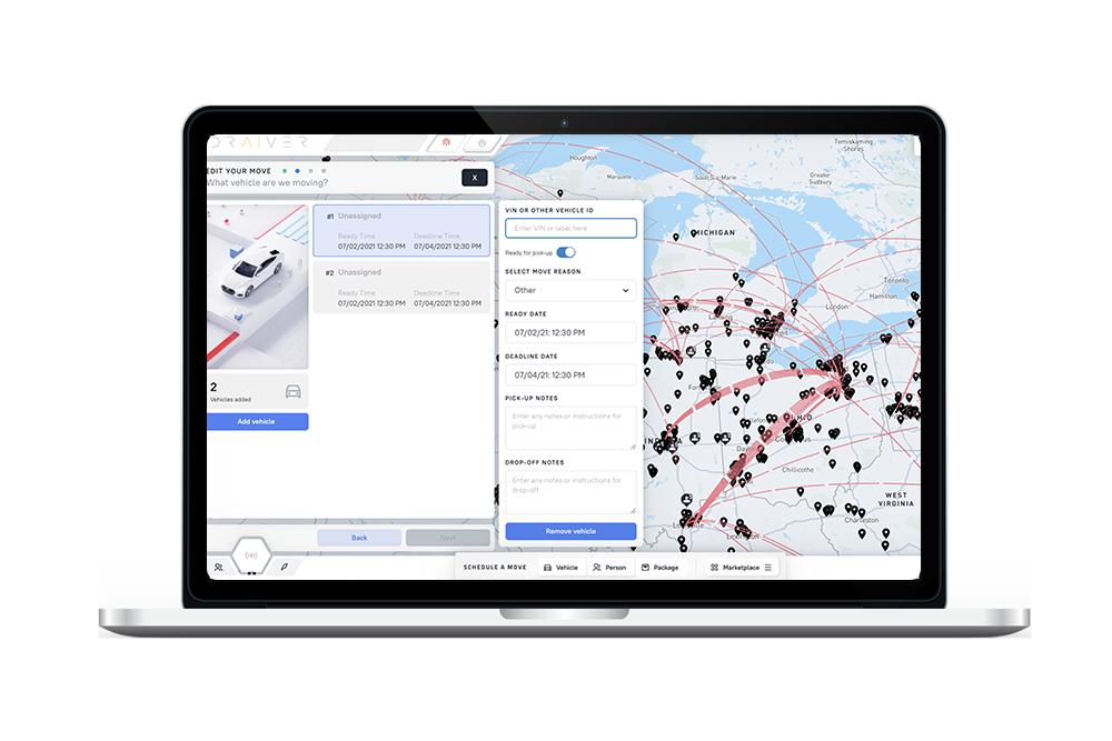 Vehicle transport management app on computer