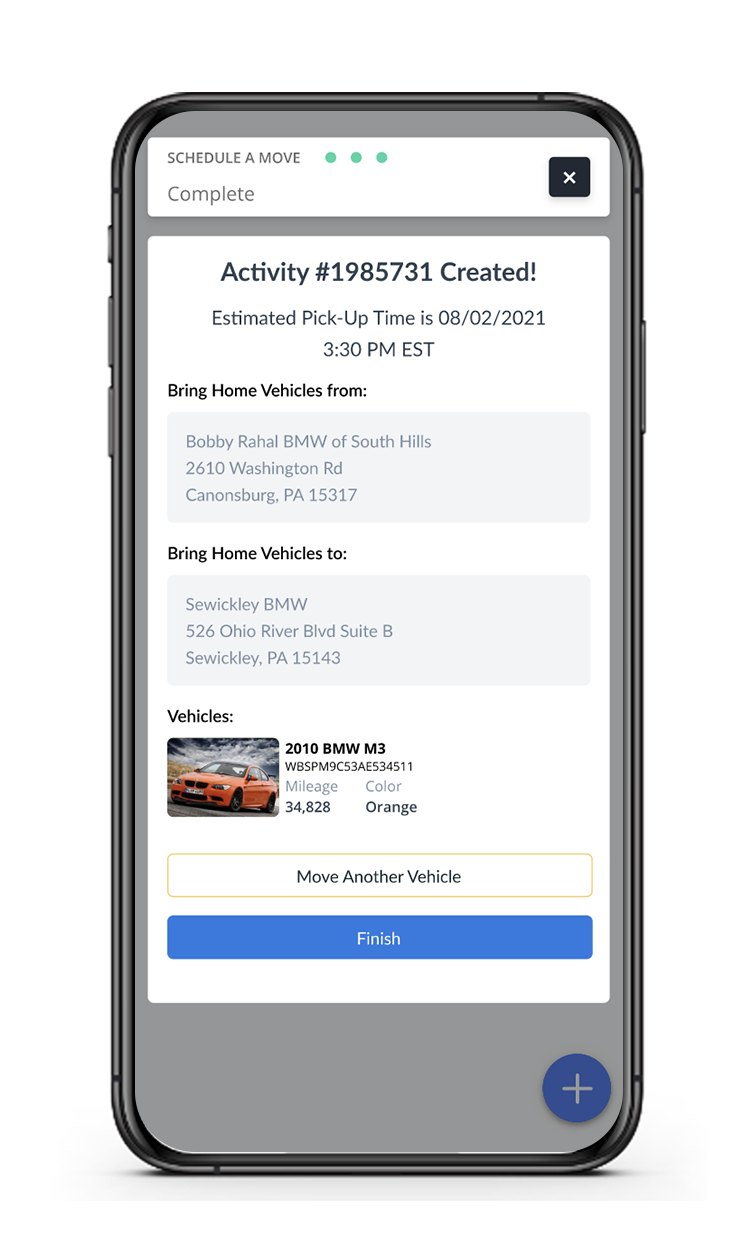 Vehicle delivery request on app