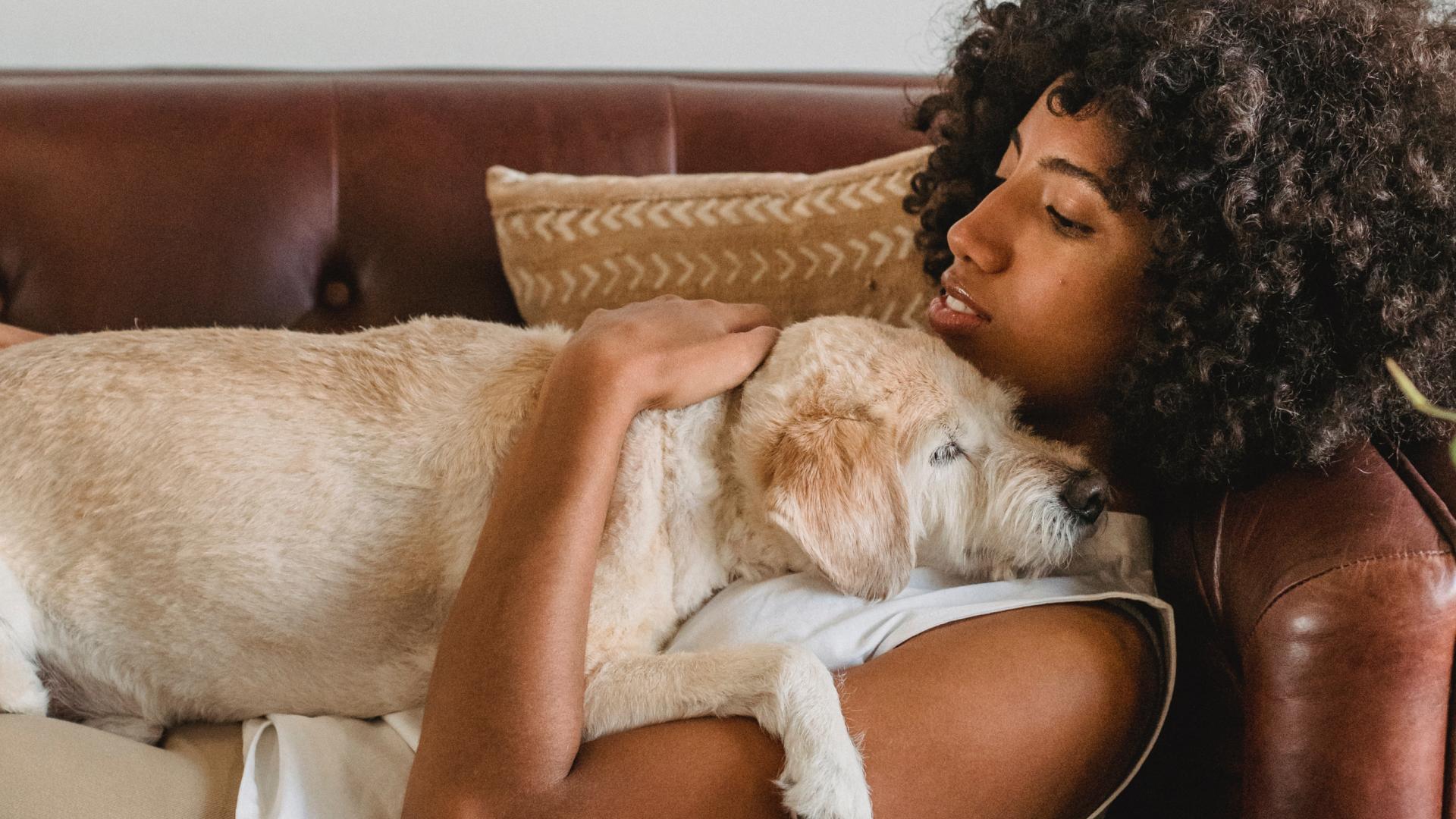 Woman with esa dog on sofa