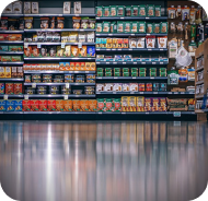 Store shelves with cans and boxes