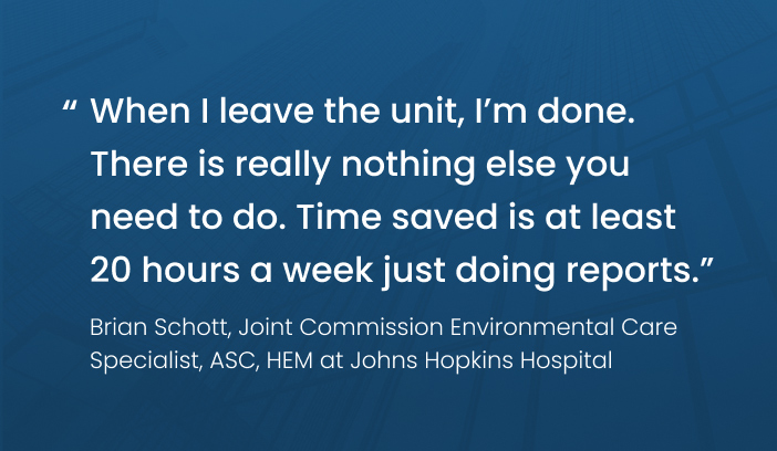 Quote from Brian Schott, care specialist for Johns Hopkins Hospital