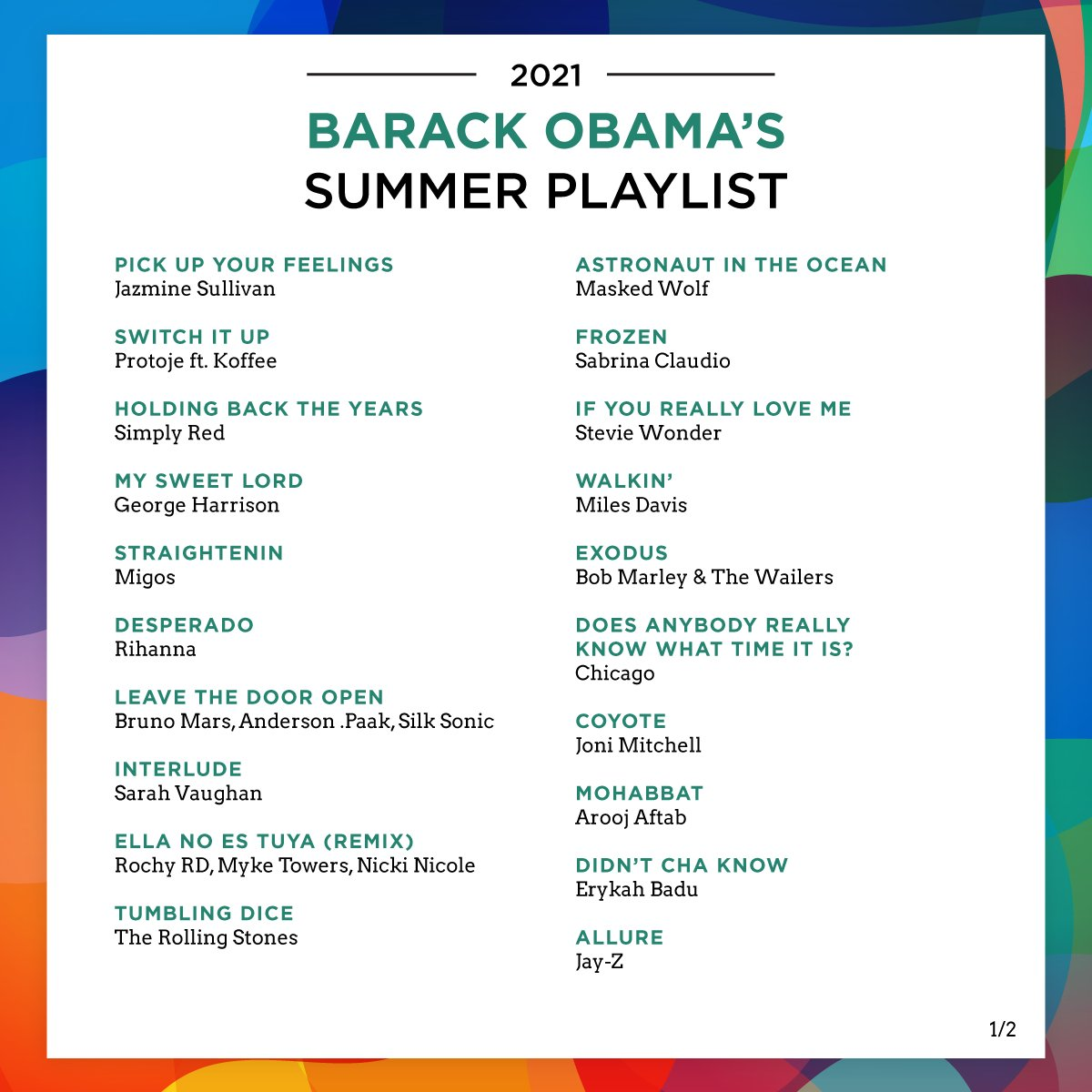 "Obama Includes ""Desperado"" On Summer 2021 Playlist"