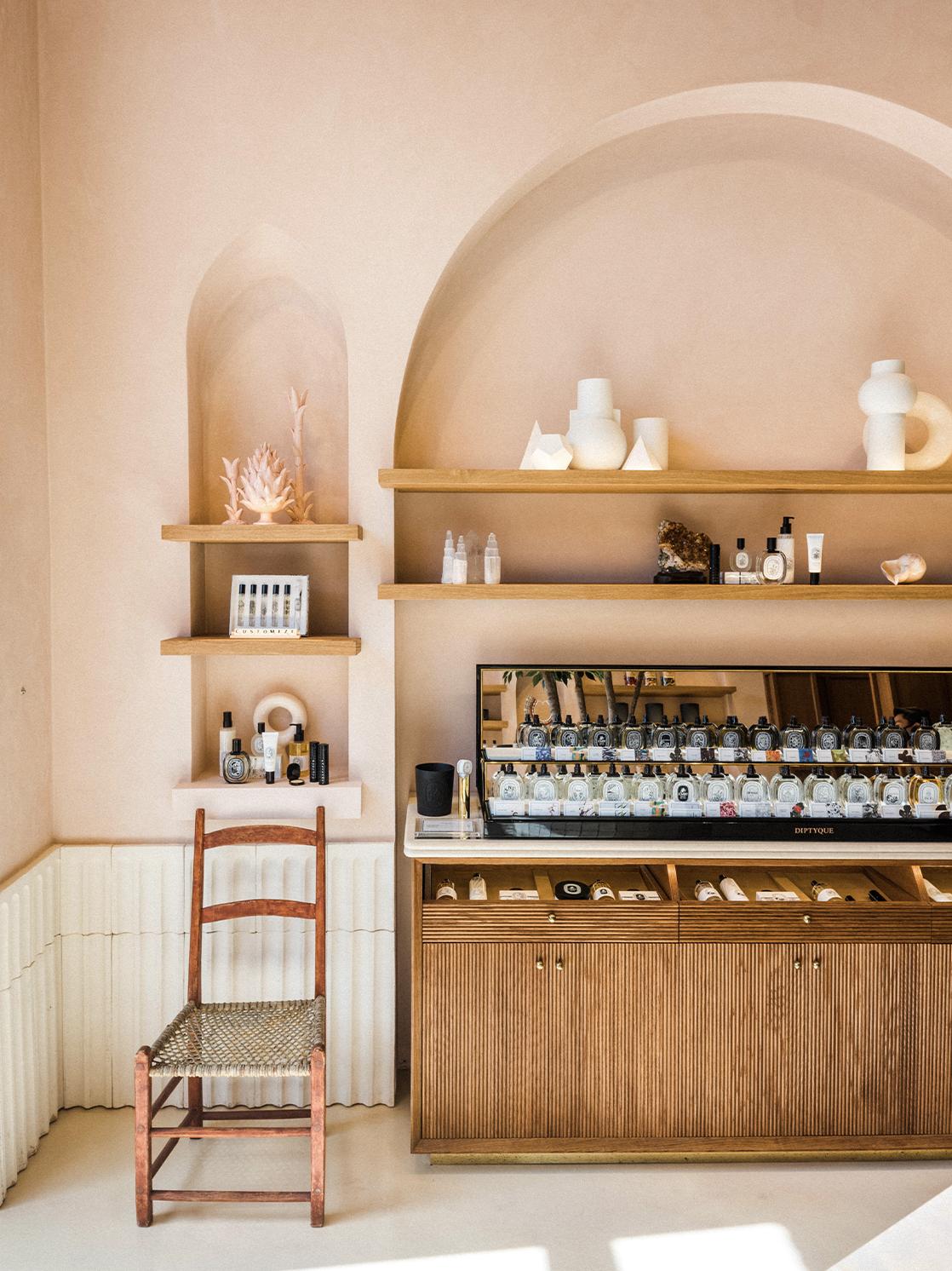 beauty product shelves