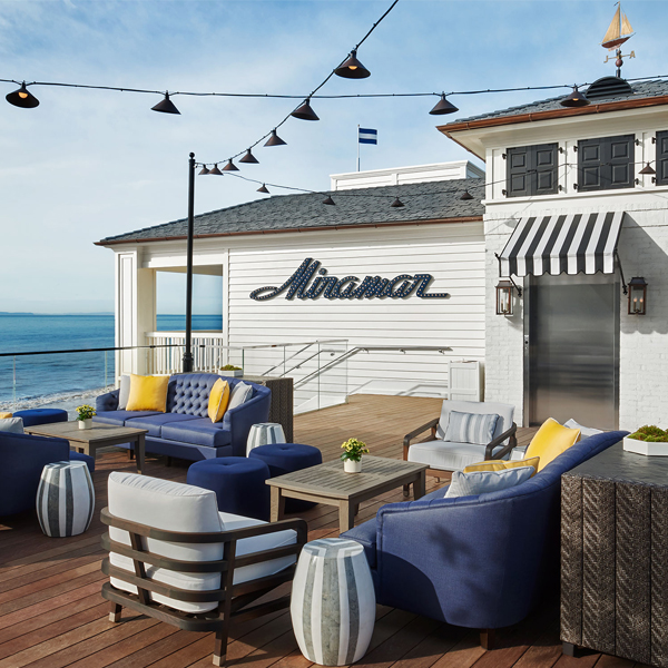 beach bar with blue and white furniture