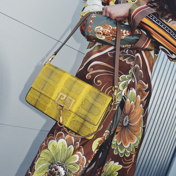 woman with yellow purse
