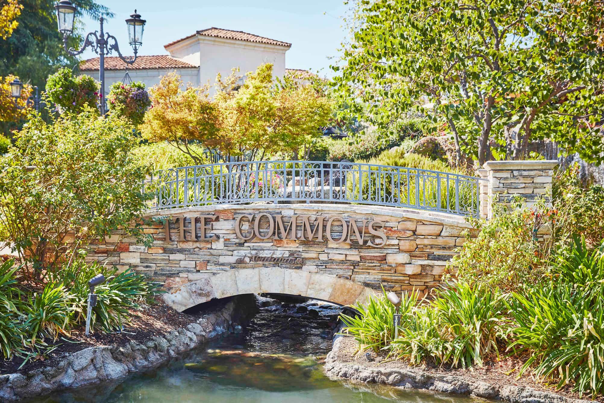 water running under stone bridge in a parc