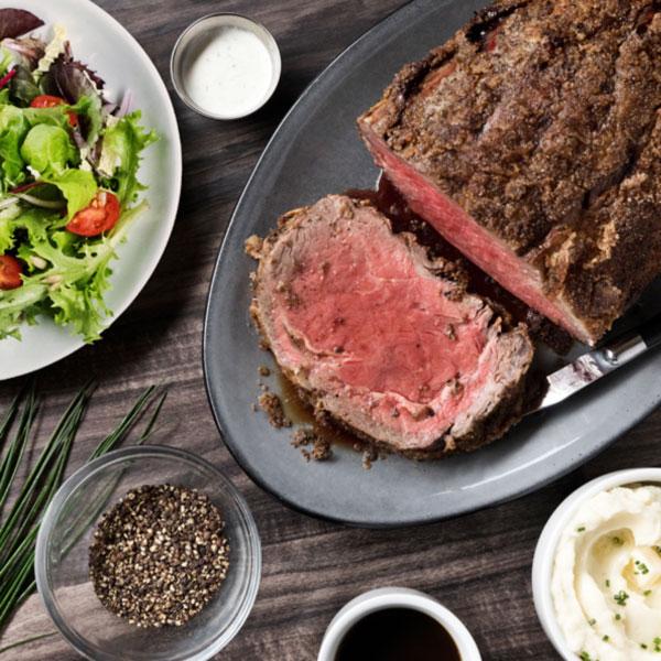 steak dinner on white restaurant table