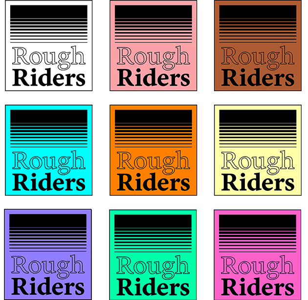 Rough Riders logo in different colors