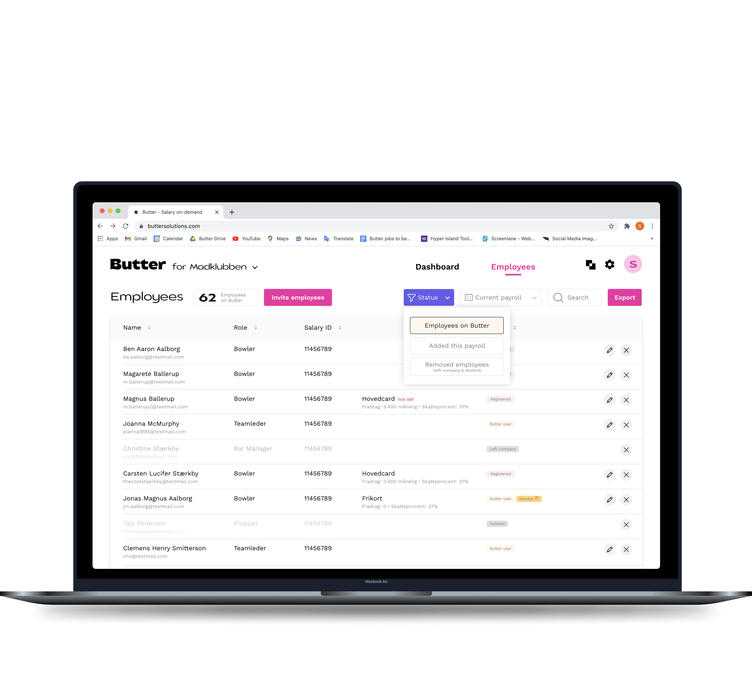 A preview of what you get as the employer when introducing Butter. A neat and clean web platform to manage all things regarding Butter.