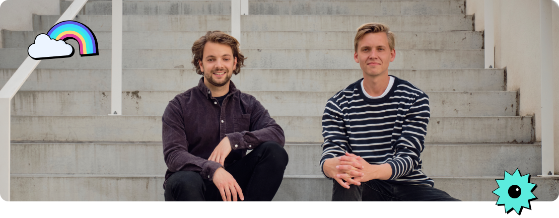 Photo of our two founders, Jonatan Marc Rasmussen on the left and Kristian Lundager on the right