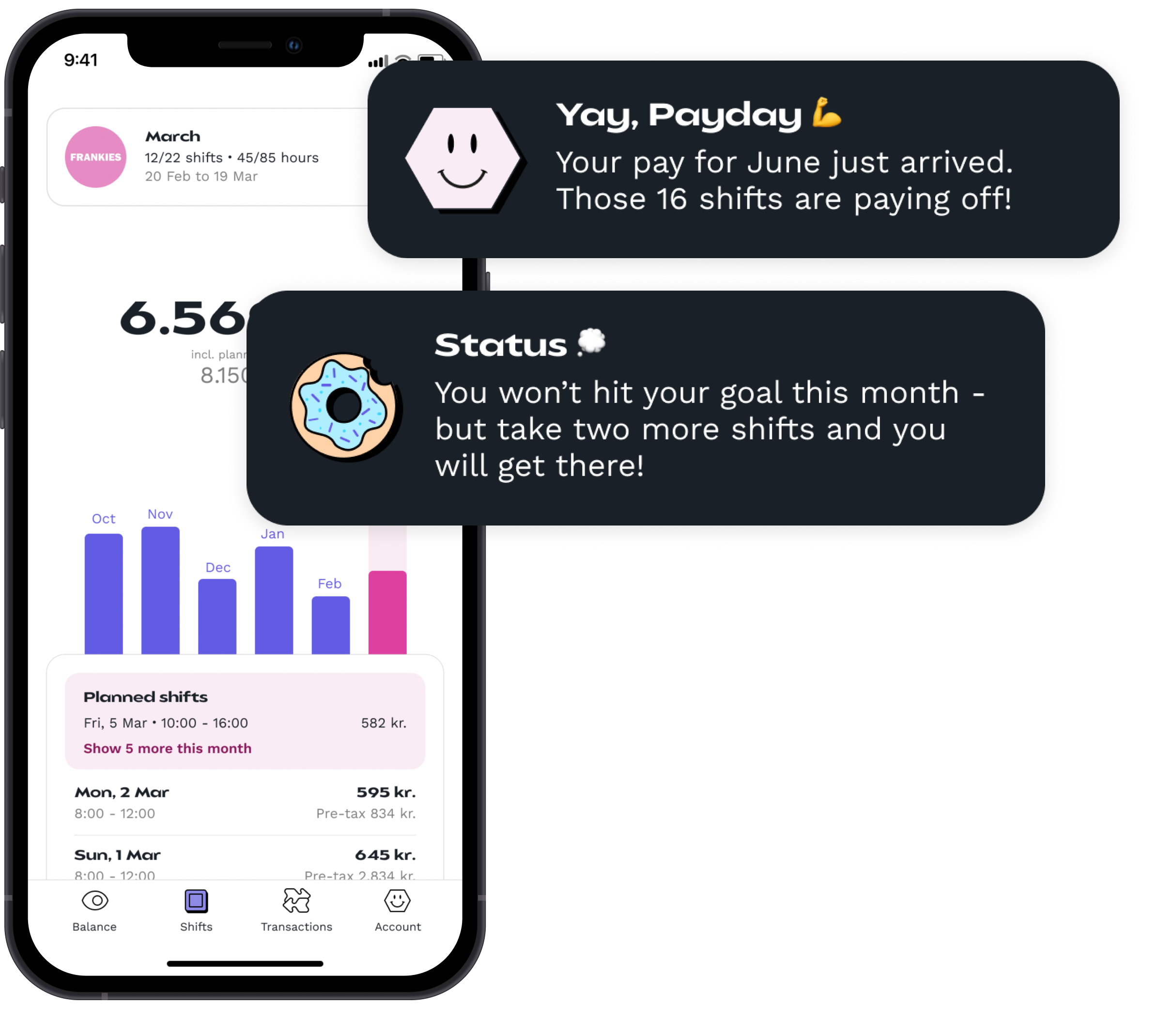 The preview of what your employees get. The picture shows the shifts page of the app and two examples of notifications that your employees might get throughout the month