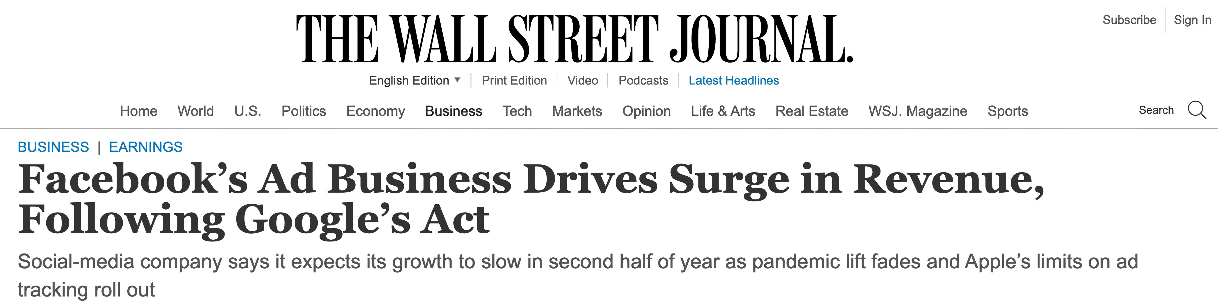 Ad Business Wall Street Journal