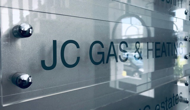 Plaque with the JC Gas & Heating Logo