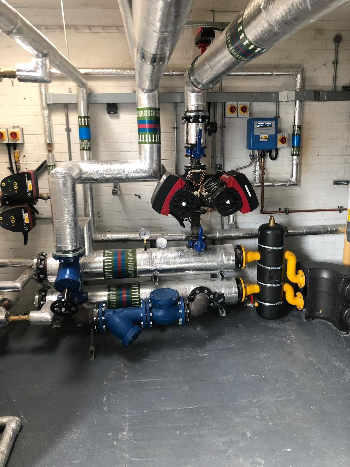 Pipes of a commercial heating system
