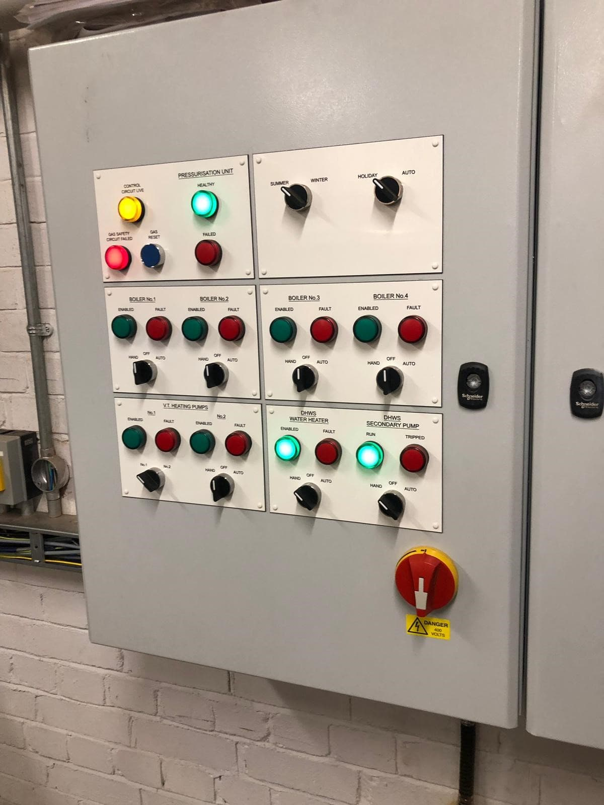 Water and heating commercial control panel