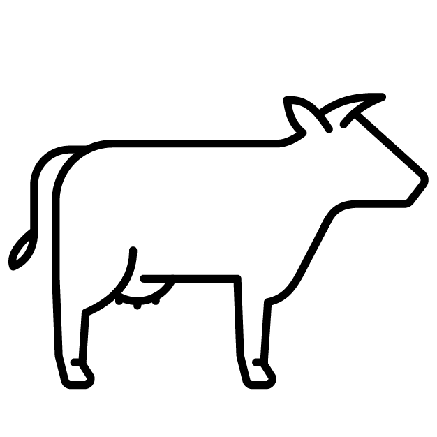 Simple graphic of a cow, representing the whey that is used in Wheyward Spirit