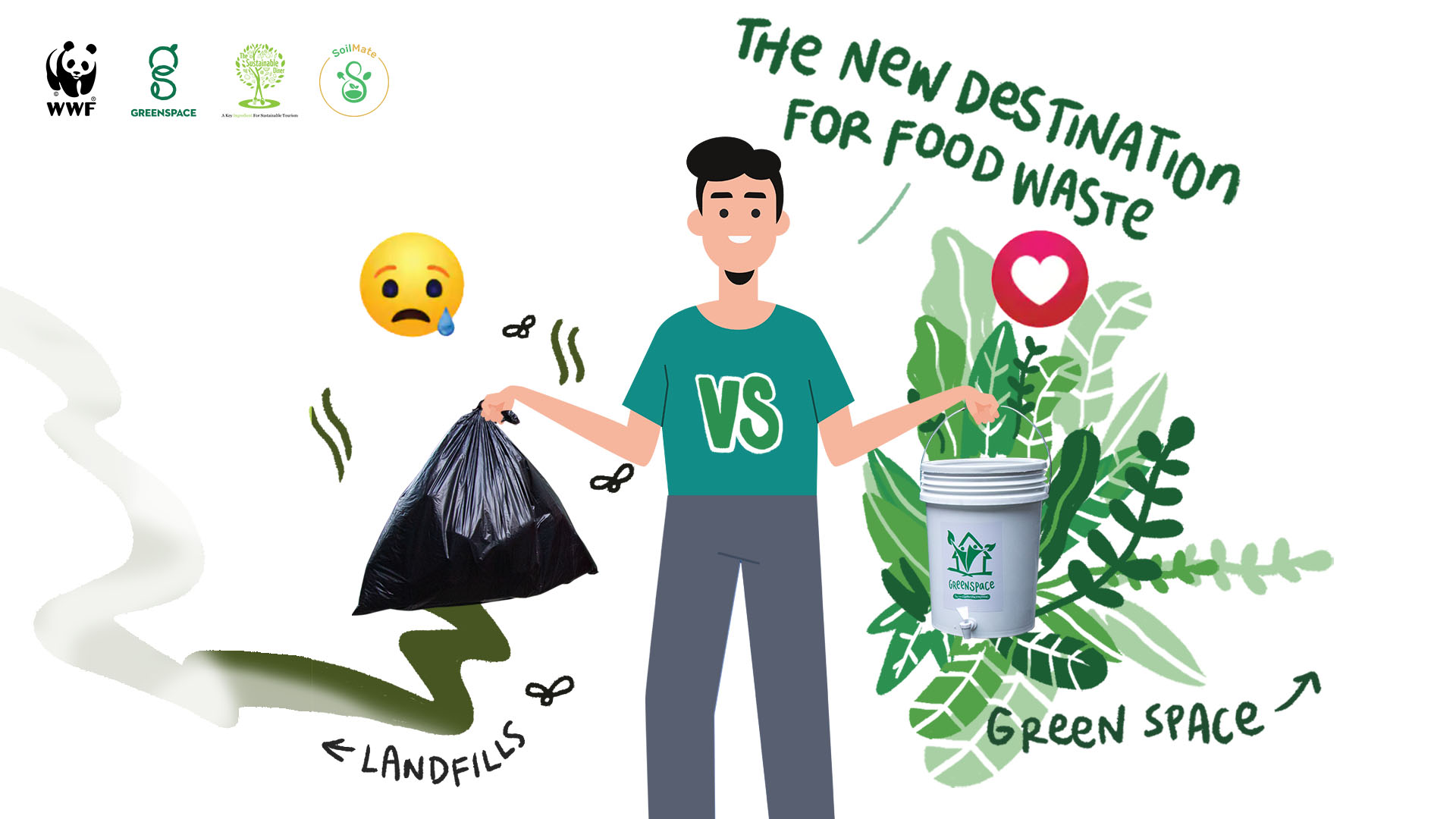 """Poster of an illustrated boy holding a smelly garbage bag in his left hand and a composting bucket on his right hand. The title reads """"the new destination for food waste."""""""