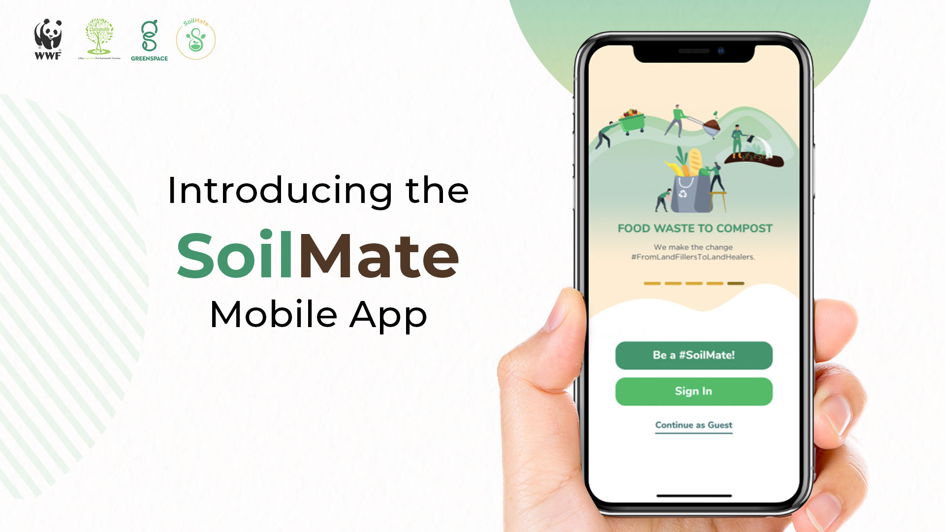 """""""Introducing the SoilMate mobile App."""" Shows a photo of a hand holding a smartphone with the app open. Buttons say """"Be a SoilMate!"""" and """"Sign In."""""""