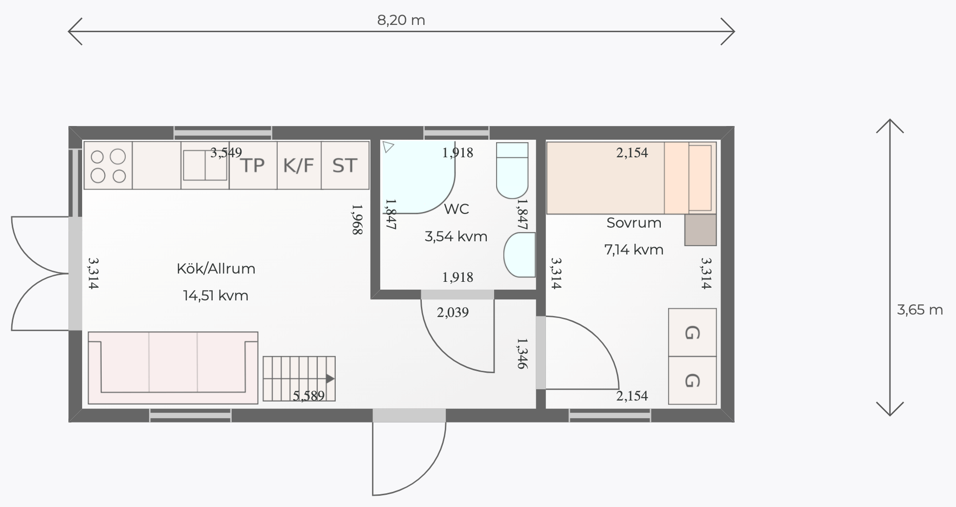 Planlösning av ett uppritat attefallshus