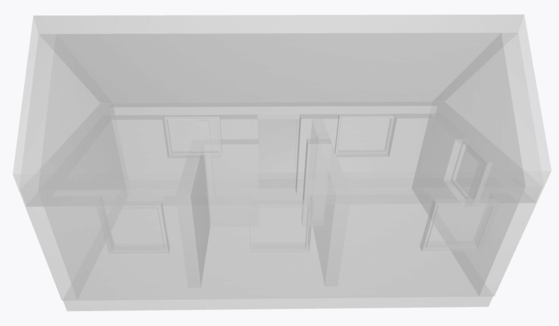 3D-modell av ett uppritat attefallshus
