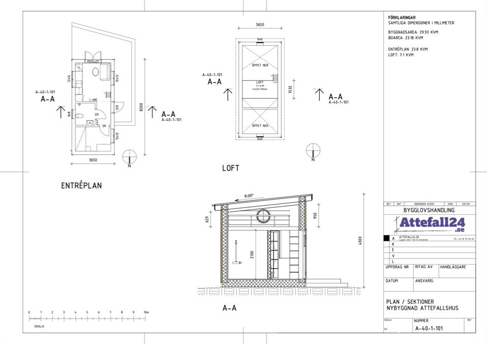 Attefallshus ritning - planlösning av ett attefallshus