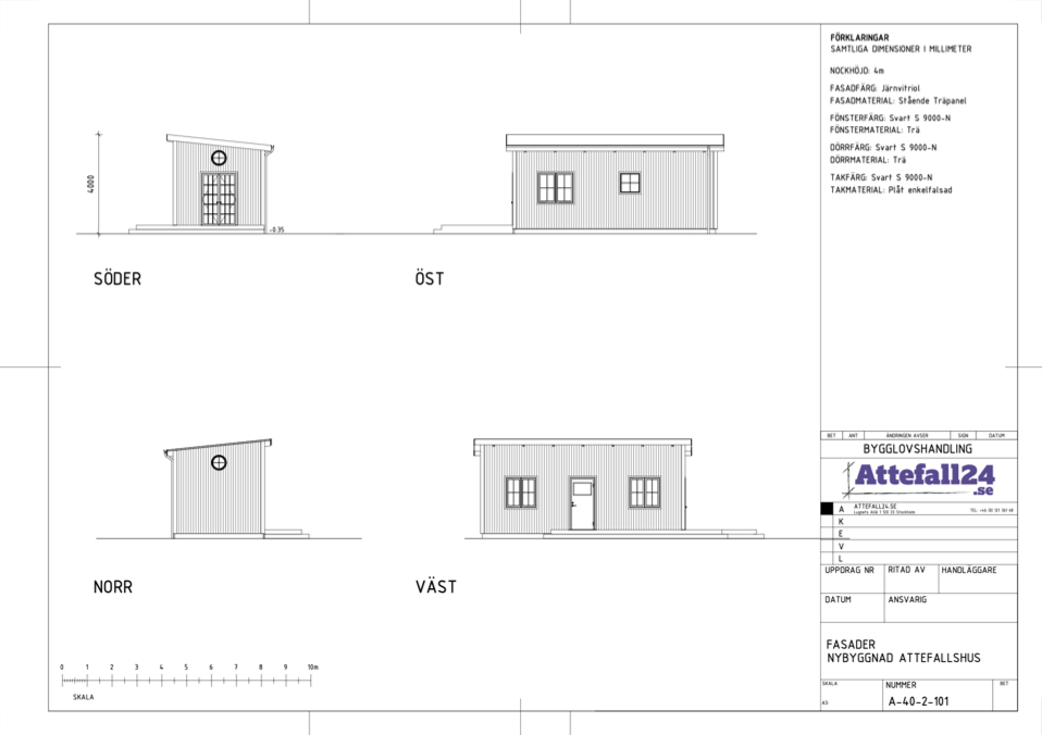 Fasadritning attefallshus