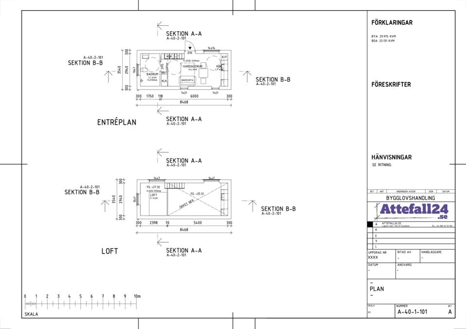 Plan- och sektionsritning av ett attefallshus
