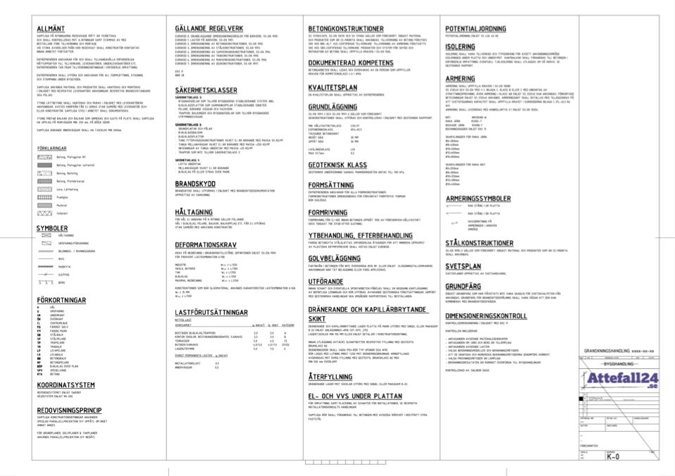 Del av en konstruktionsritning - föreskrifter