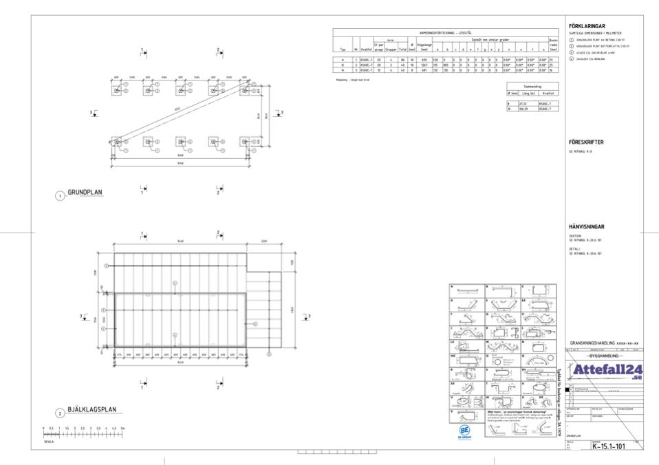 Konstruktionshandling attefallshus - grundplan