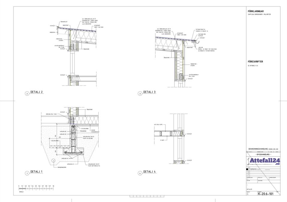 Detaljritning attefallshus