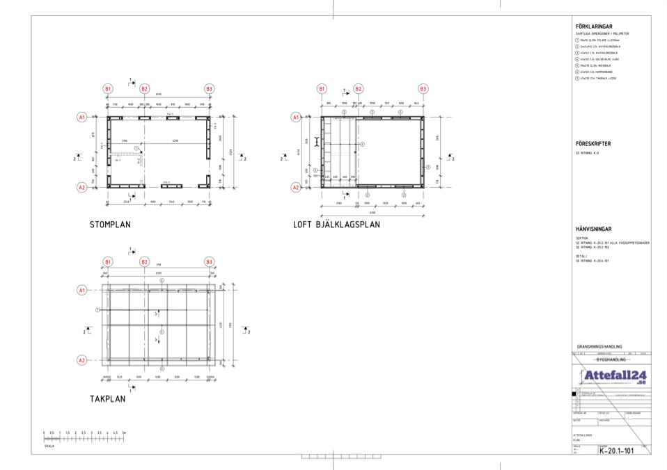Stomplan, takplan och bjälkslagsplan i en k-ritning