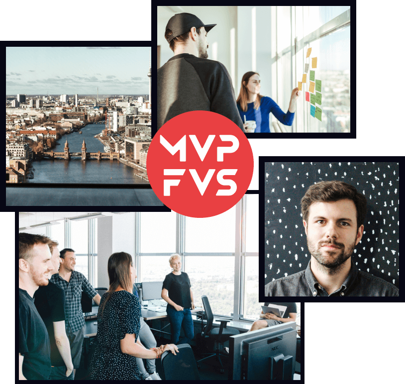 Collage of MVP Factory team events, founder and view of Berlin