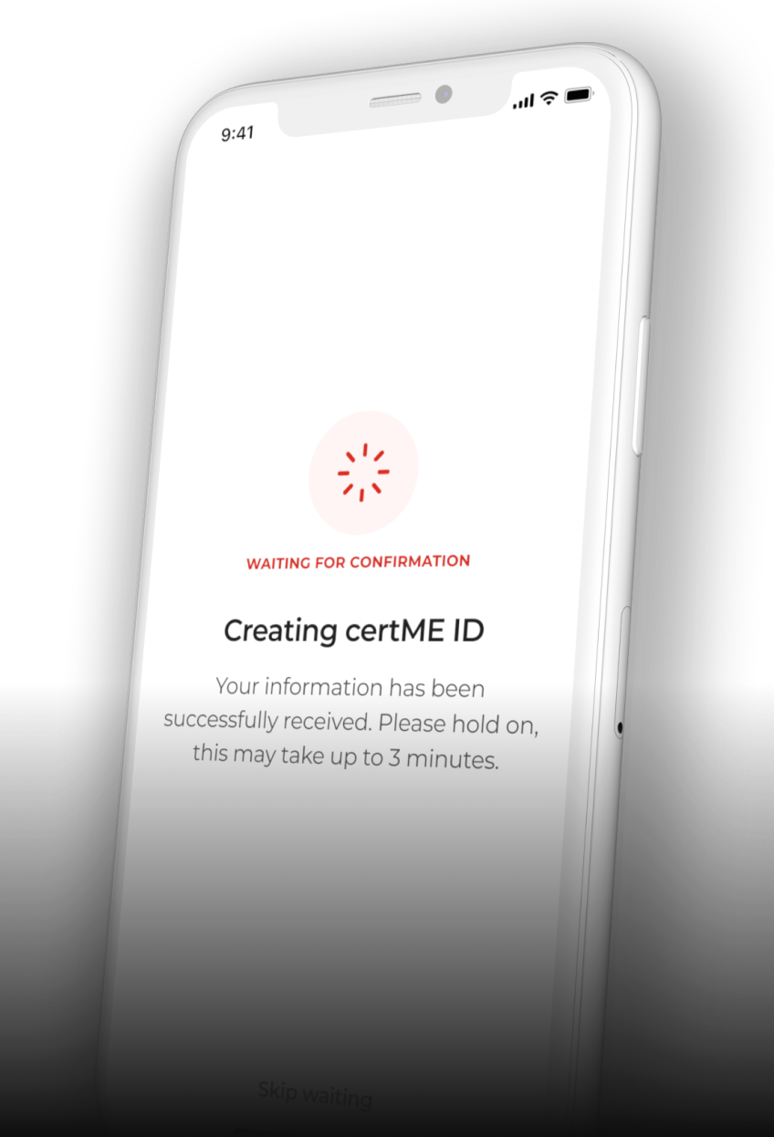 A screenshot of the certME mobile app.