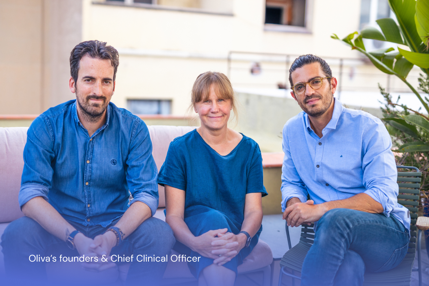 Landscape photo of Oliva's founders Javi and Sancar, and Clinical Office Dr. Sarah Bateau