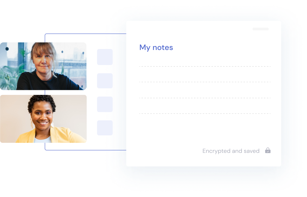 Take notes in Oliva's platform whilst talking to your therapist