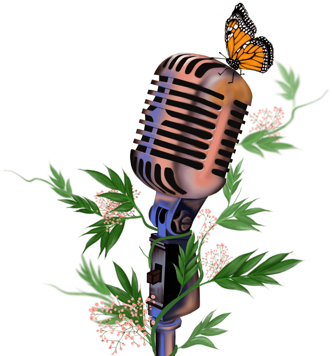 Illustration of mic surrounded by leafs and flowers.
