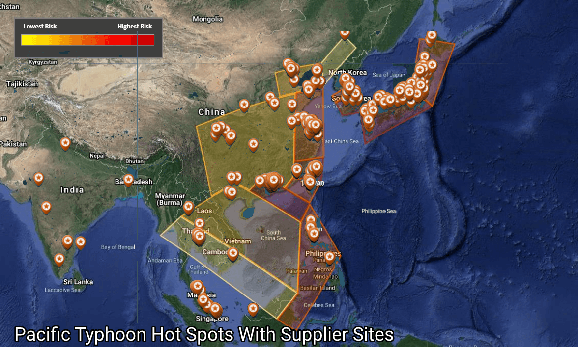 Pacific hotspots with electronics supplier sites overlaid