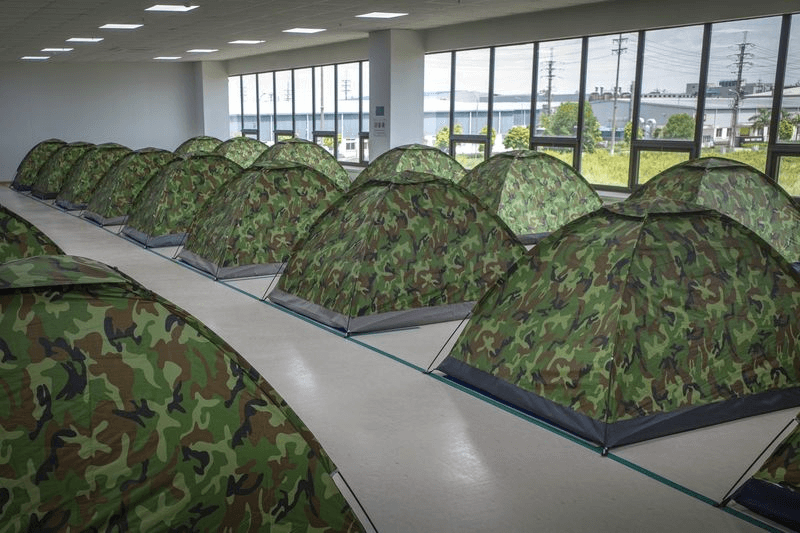 Tents on a factory's floor at the Van Trung Industrial Park in Bac Giang province. Source: Giang Son Dong