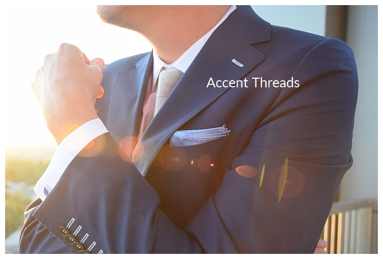 Accent threads on the lapel of a custom suit by Tailor Cooperative in Salt Lake City Utah