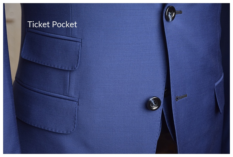Ticket pocket on a custom suit by Tailor Cooperative in Salt Lake City Utah
