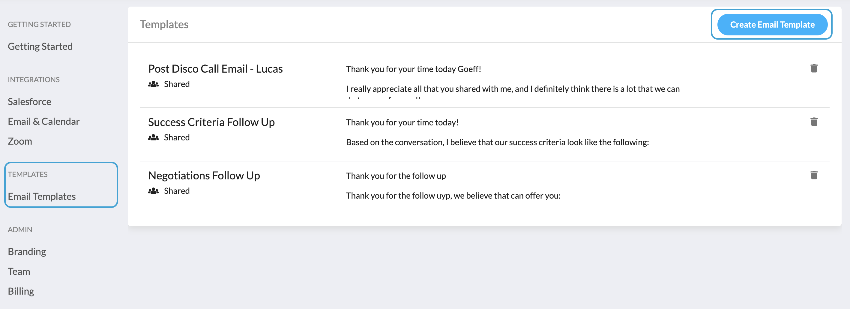 settings email templates