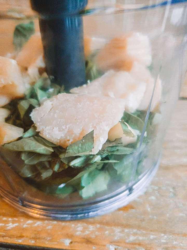 pesto ingredients in processor