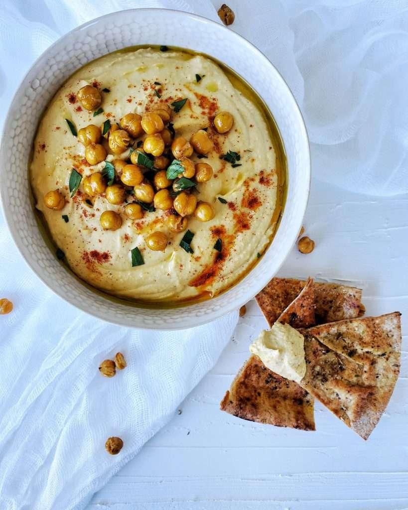 Roasted Garlic Hummus in Bowl