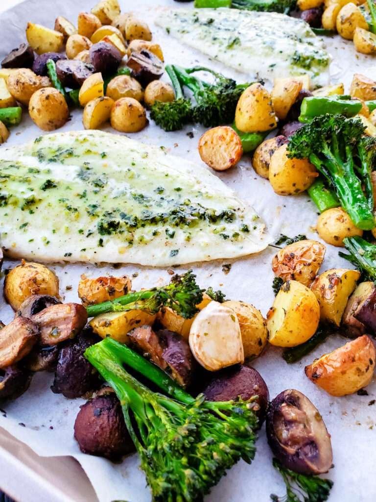 Sheet Pan Pesto Fish and Potatoes