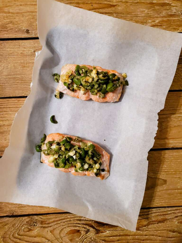 Olive and Goat Cheese Salmon
