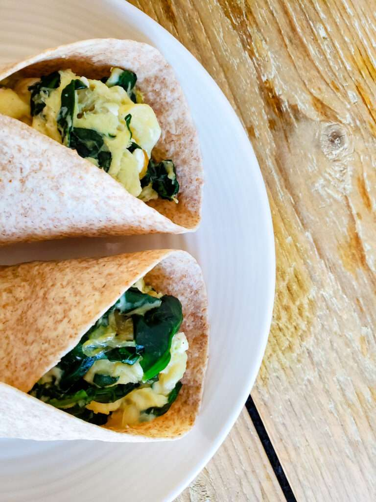 Spinach and Feta Breakfast Wraps