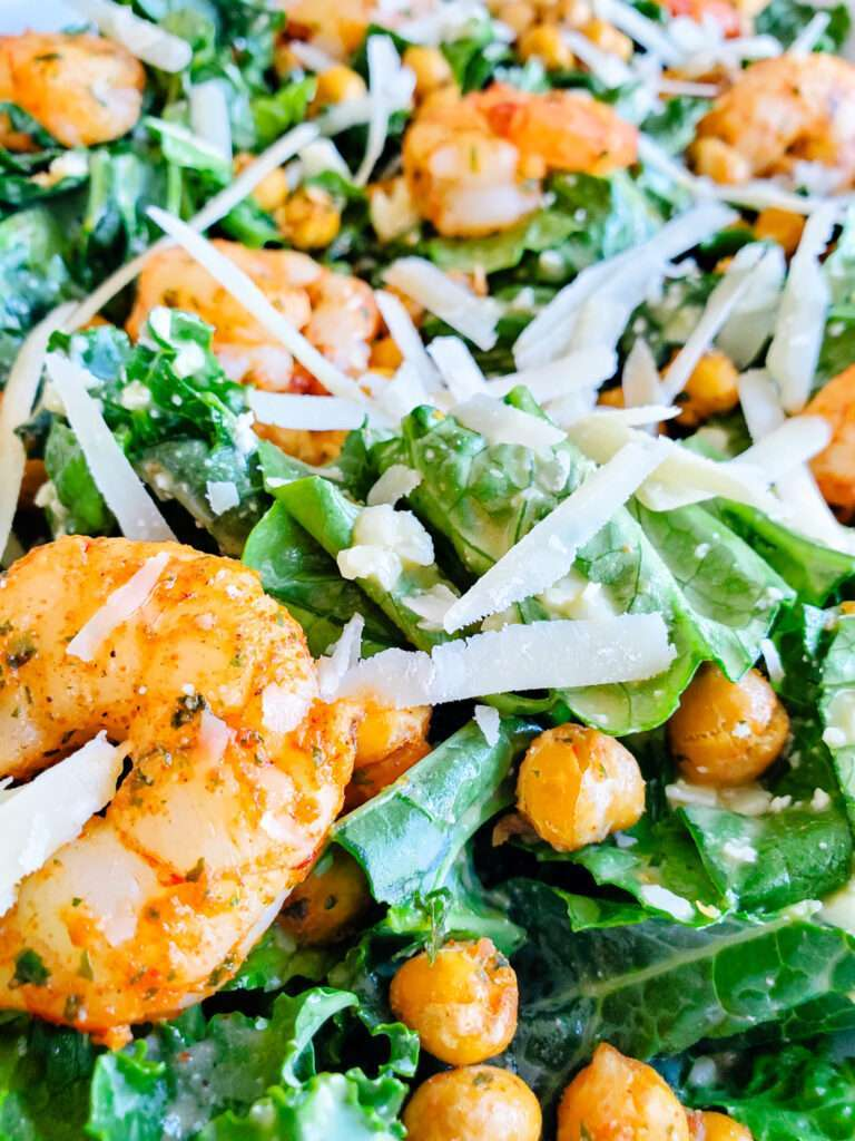 easy kale Caesar with shrimp and chickpeas