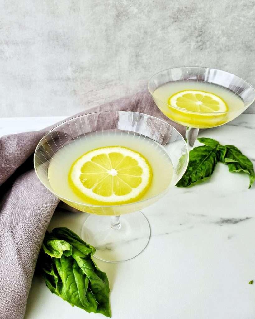 Basil Lemon Drop Cocktails