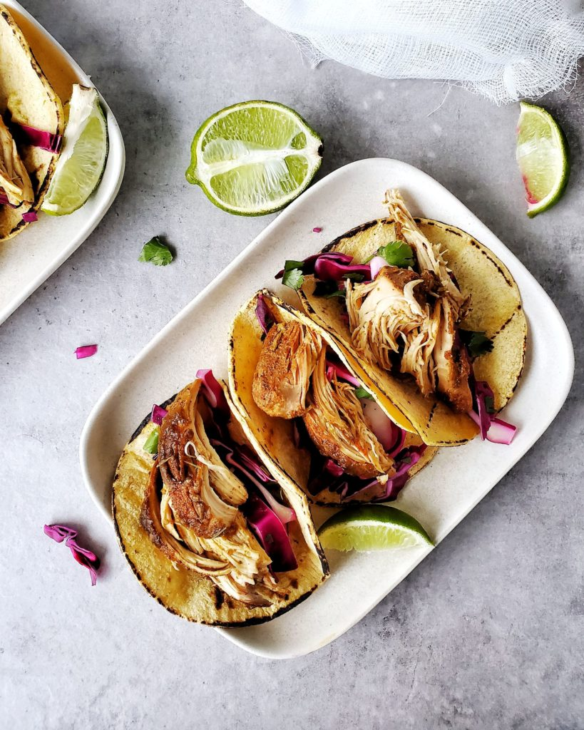Easy and Healthy Chicken Tacos on a plate
